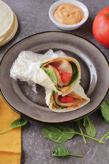 Low-FODMAP Smoked Turkey & Spinach Wraps with Spicy Mayo  /  Delicious as it Looks