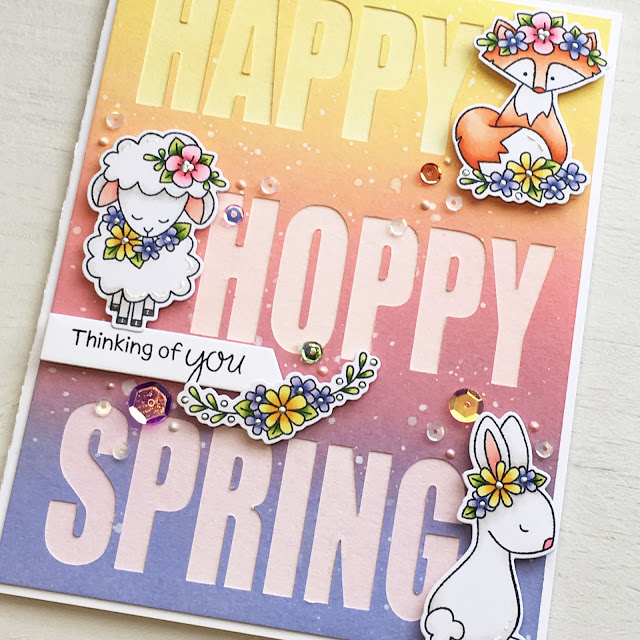 Hoppy Spring Card by April Guest Designer Candice Fisher | Woodland Spring Stamp Set by Newton's Nook Designs #newtonsnook #handmade