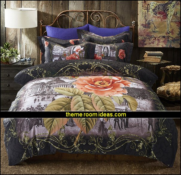 vintage Flowers Print Bedding Duvet Cover