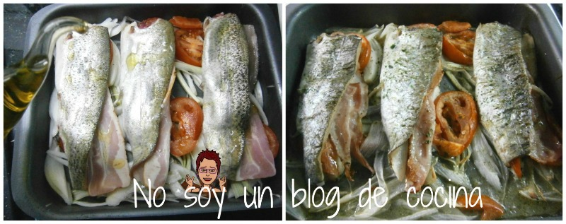 Trucha al horno rellena de bacon