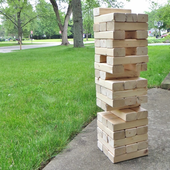how to make a DIY giant jenga game for your yard