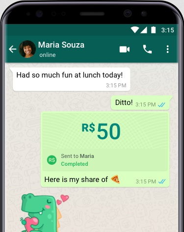 WhatsApp's new payments feature, powered by Facebook Pay