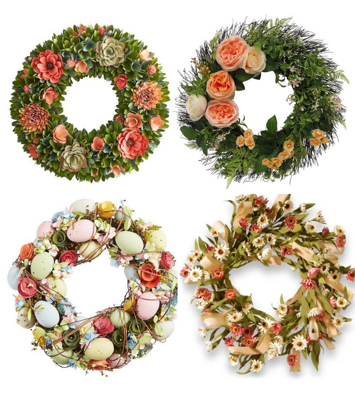 coral colored spring wreaths