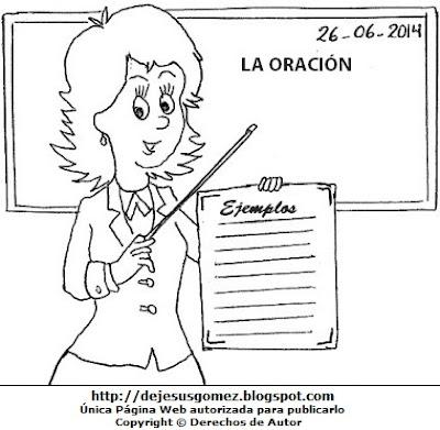 Imagen de mujer trabajando como docente para colorear pintar imprimir. Dibujo de mujere de Jesus Gómez