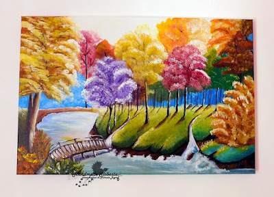 "Tablou pictat cu acrilice ""Peisaj de vara"""