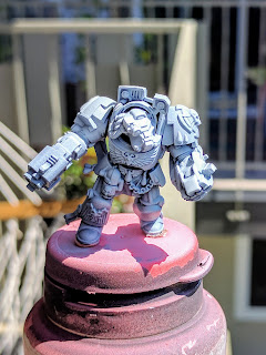 Space Marine terminator primed flat black with a heavier white highlight airbrushed.
