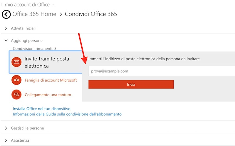 Come condividere account Office 365