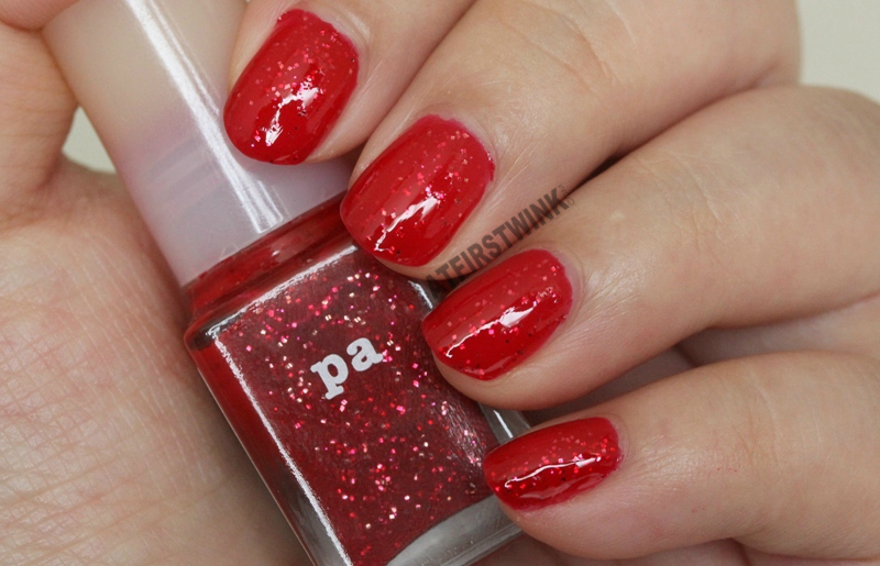 Pa Nail Color A81 nail polish red jelly glossy gold fuchsia pink red glitters more in shade