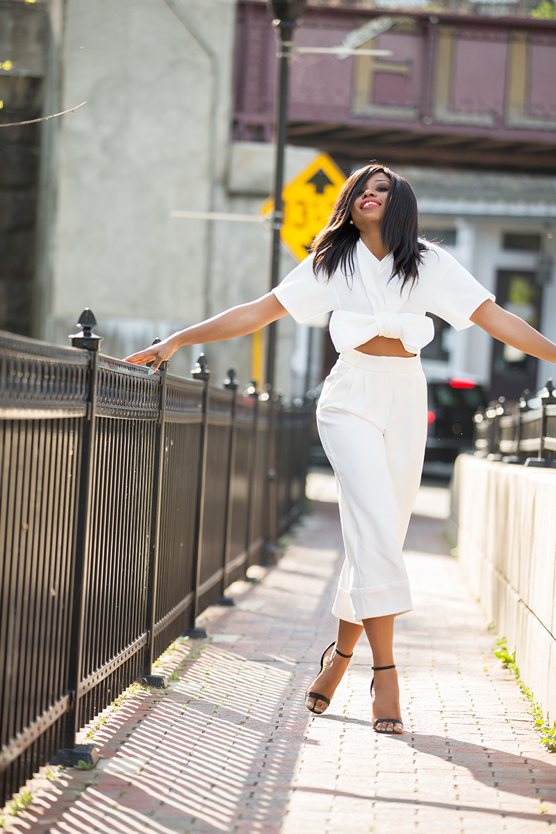 summer whites, boohoo Bow Front Crop, asos high waist culottes, www.jadore-fashion.com