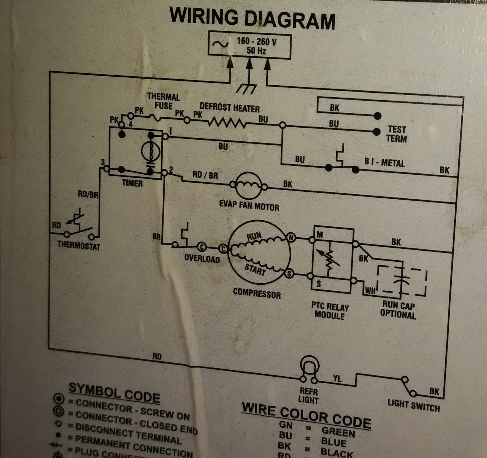 wiring diagram of double door refrigerator