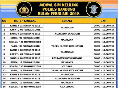 Jadwal SIM Keliling Polres Bandung Bulan Februari 2018