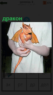 У мужчины на руках сидит маленький дракон оранжевого цвета