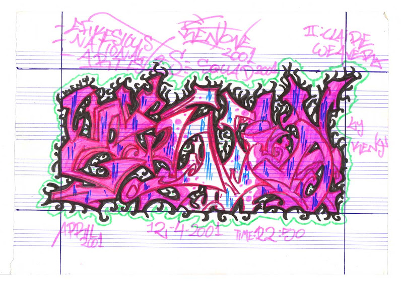 Ena Wild Style Letters colored wih Pink Markers. Original naive, vintage graffiti sketch on copy paper by Kostas Gogas (akney), signed as Kent from his first Folder, 2001. ENA graffiti crew.