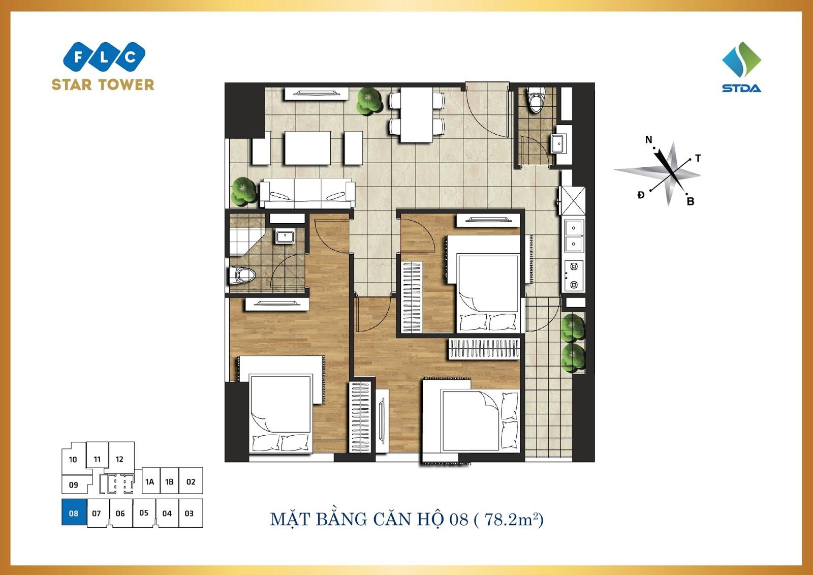 Thiết kế căn hộ số 8 - Chung cư FLC Star Tower