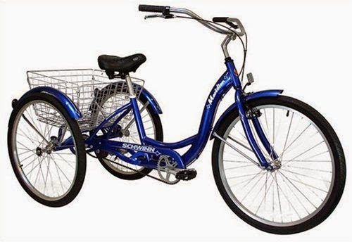 "Schwinn Meridian Single Speed Adult Tricycle, blue, review, ergonomically designed, cruiser handlebars, padded spring saddle, low step through frame, folding rear basket, 26"" or 24"" wheels"