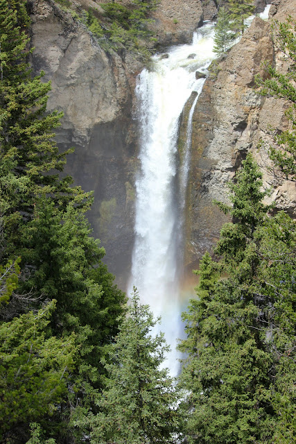 waterfall, Tower Falls, Yellowstone, rainbow, http://bec4-beyondthepicketfence.blogspot.com/2016/05/work-hard-play-hard.html