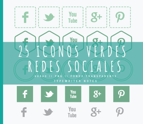 Typewriter Notes: Recursos: 25 iconos (redes sociales)