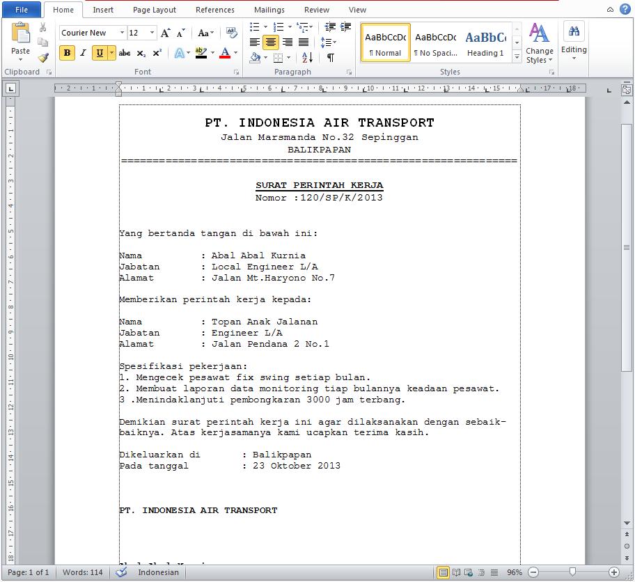 Contoh Surat Perintah Kerja Resmi Docx