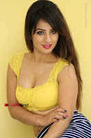 Cute Telugu Actress Shunaya Solanki High Definition Spicy Pos in Yellow Top and Skirt  0224.JPG