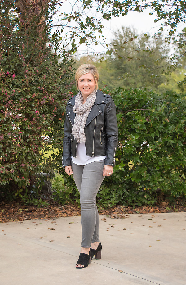 black moto jacket, moto jacket outfit, fall outfit, scarf outfit, white tee outfit, how to wear a white tee