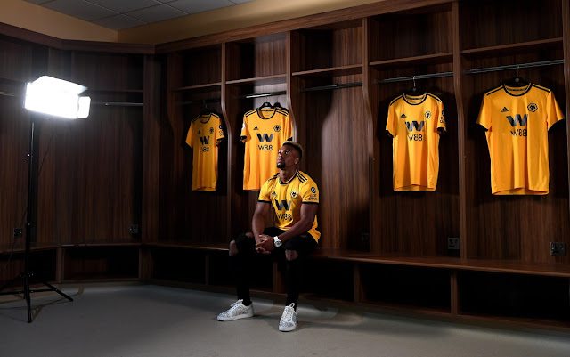 Wolves new signing Adama Traore at the Molineux dressing room