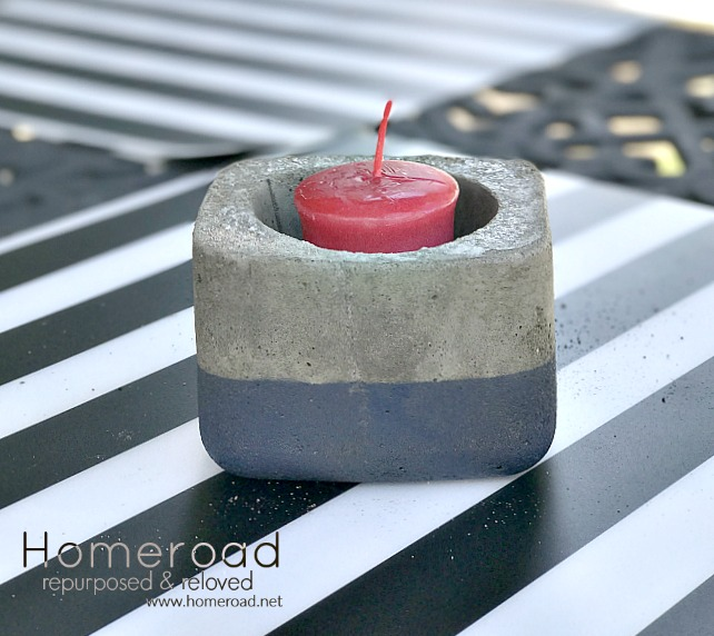 Cement candle holder in red white and blue