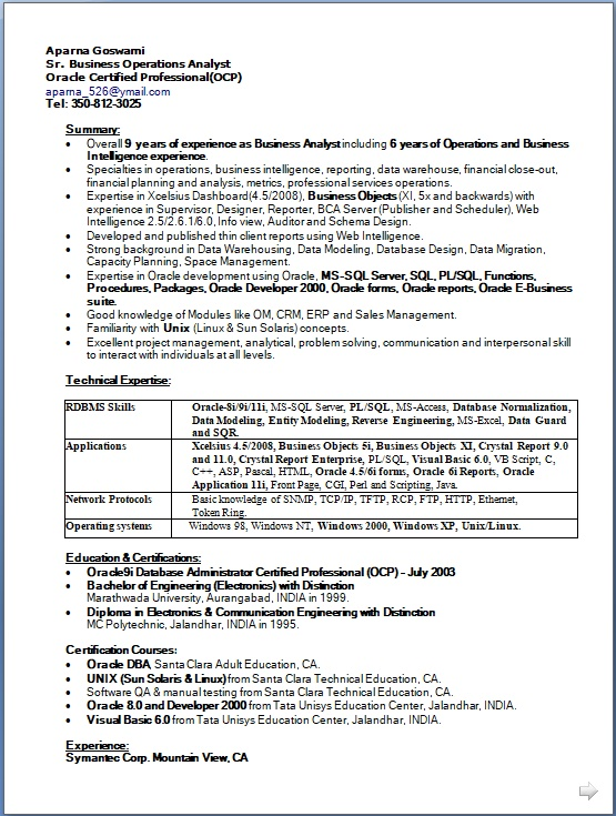 Business Operations Analyst Sample Resume Format in Word Free Download