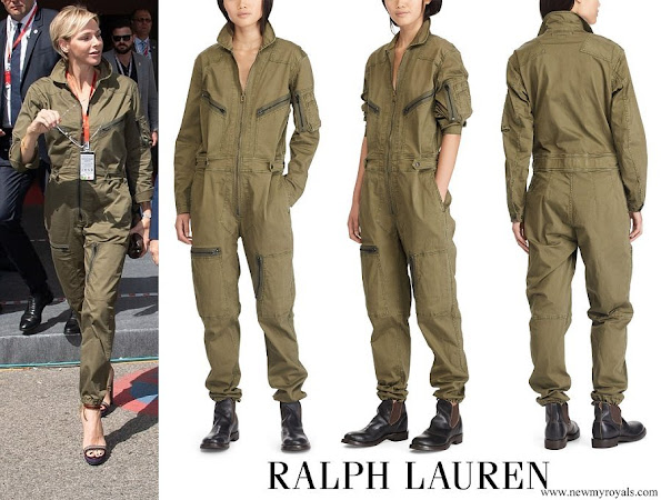 Princess Charlene wore Ralph Lauren Olive Cotton Twill Military Coverall