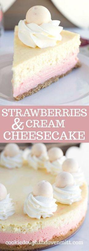Strawberries and Cream Cheesecake #dessert #cake #american #strawberries #cream #cheesecake