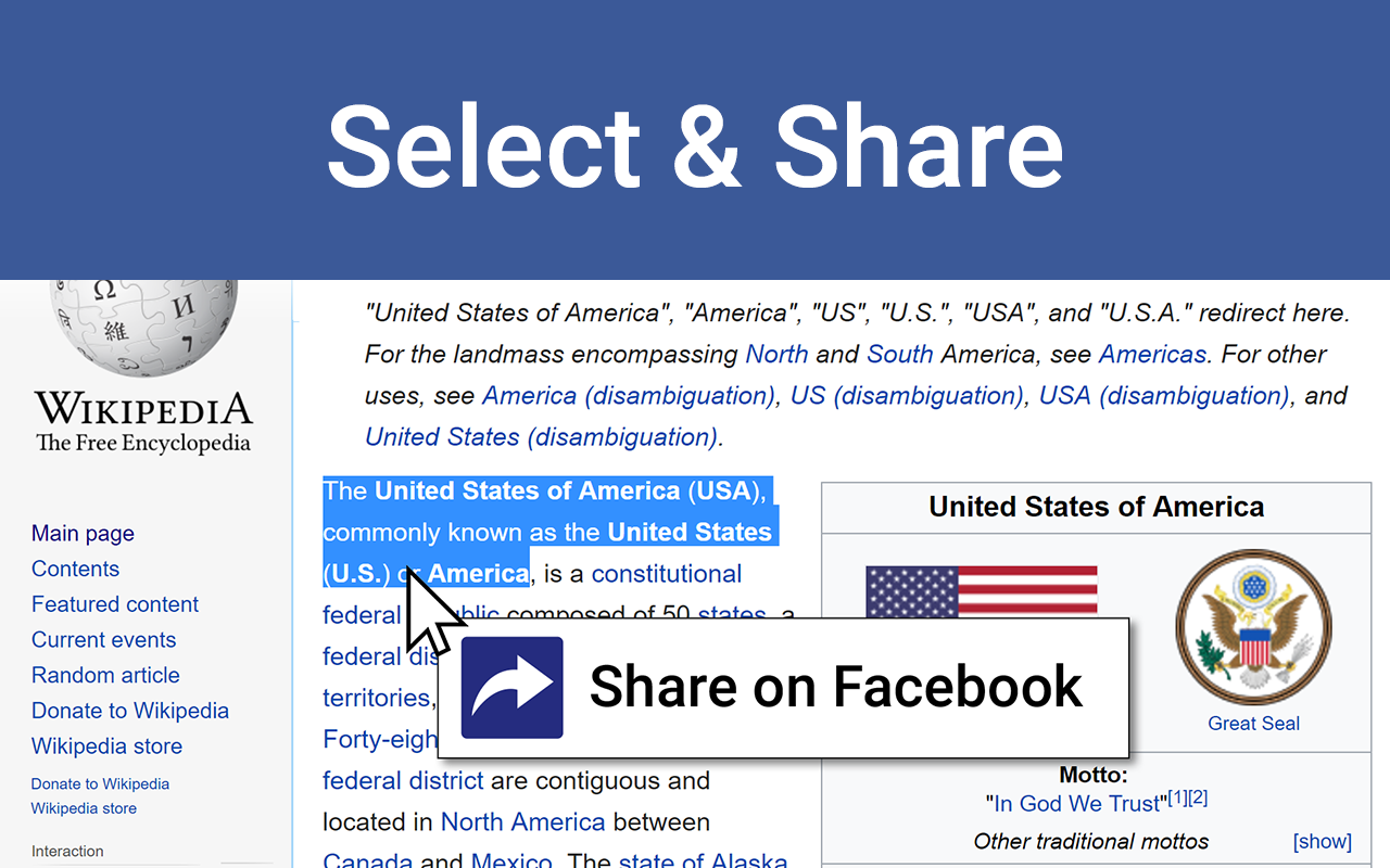 Select and Share on Facebook: New Extension for Chrome