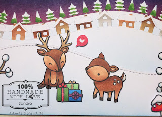 Christmas Card with Lawn Fawn Cheery Christmas, Lawn Fawn Little Town Border and Lawn Fawn Forest Border2