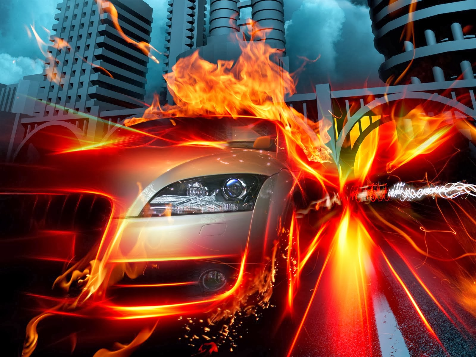 Eight Rolls Of Four Free Fire Wallpaper: Cars View: Fire 3d Wallpapers Of Cars For Desktop