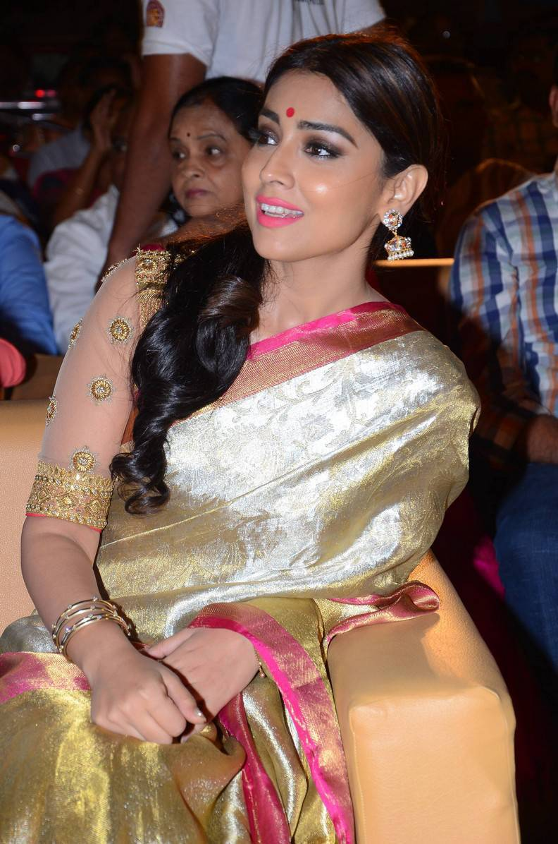 Telugu Actress Shriya Saran Stills In Designer Yellow Saree