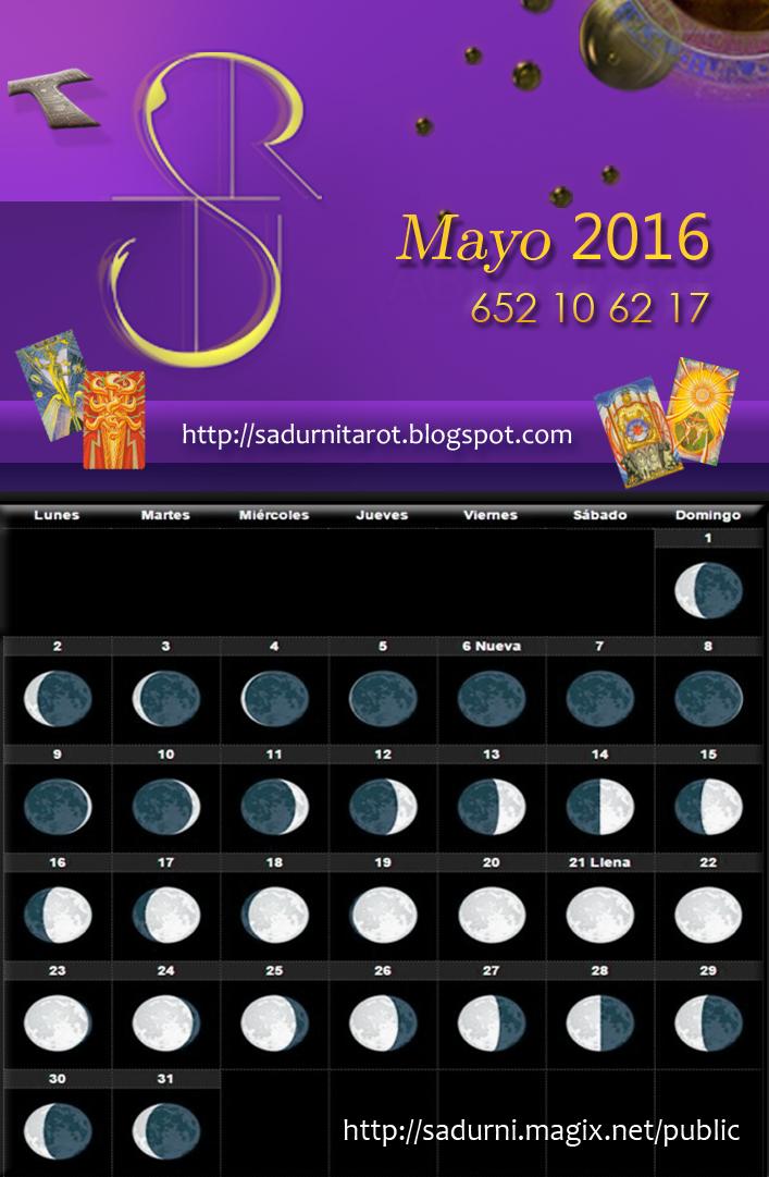 Sadurn Tarot Calendario Lunar Mayo 2016