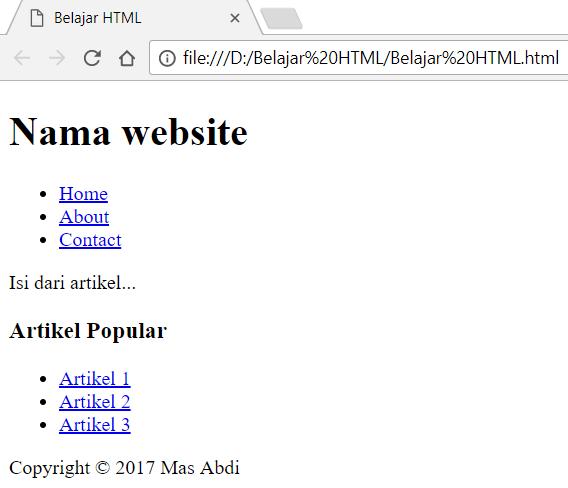 Penggunaan tag <div> untuk membuat website