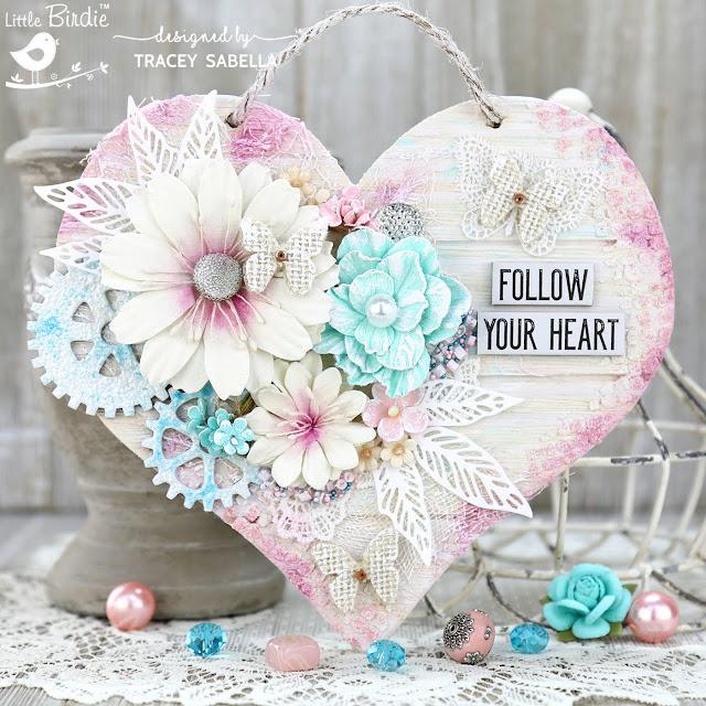 """Follow Your Heart"" Shabby Mixed Media Wooden Heart by Tracey Sabella for Little Birdie Crafts: #traceysabella #littlebirdiecrafts #littlebirdieonline #littlebirdieflowers  #diy #diyhomedecor #timholtz #fablab #rangerink #twinklingh2os #stampendous #panpastel #colorfin #prills #helmar #mixedmedia #mixedmediaart #shabbychic #mixedmediahomedecor #shabbychichomedecor #chipboard #handcraftedflowers #art #craft #crafts #texture #handmade"