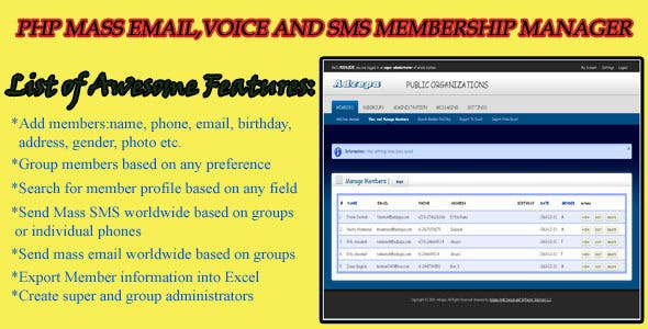 PHP Mass Email - Voice & SMS Membership Manager