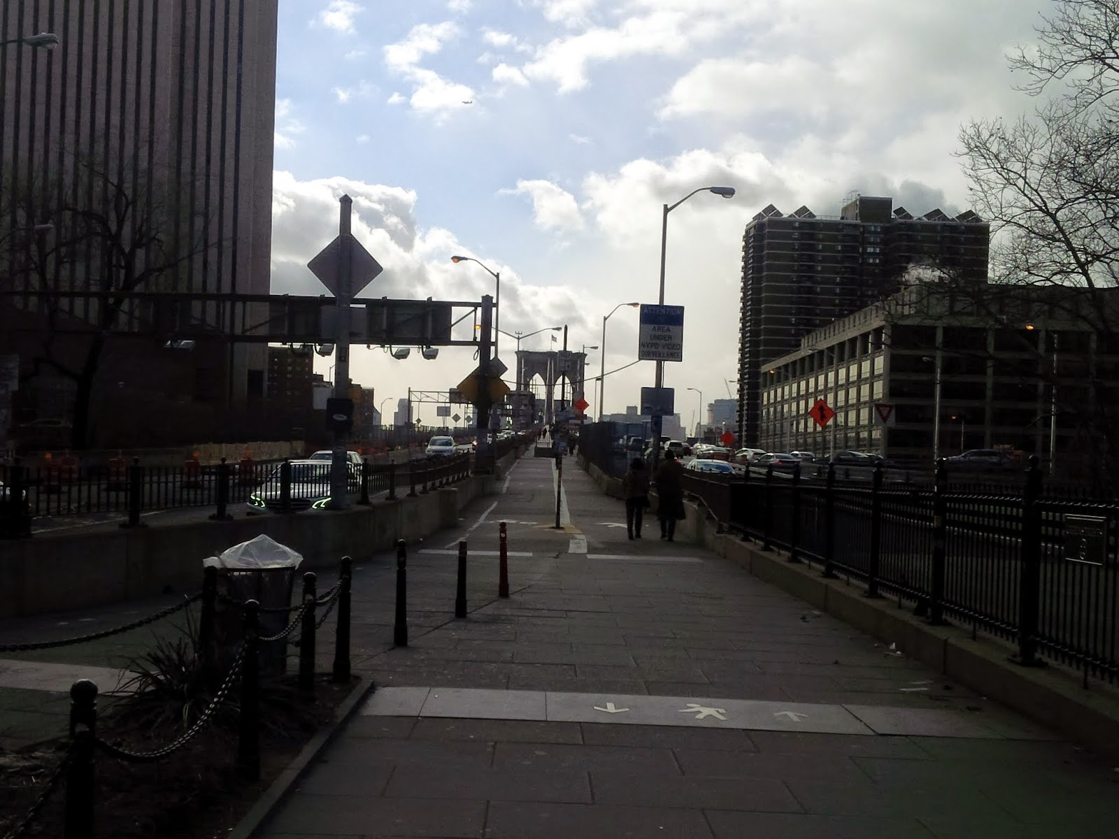 Manhattan side of the Brooklyn Bridge