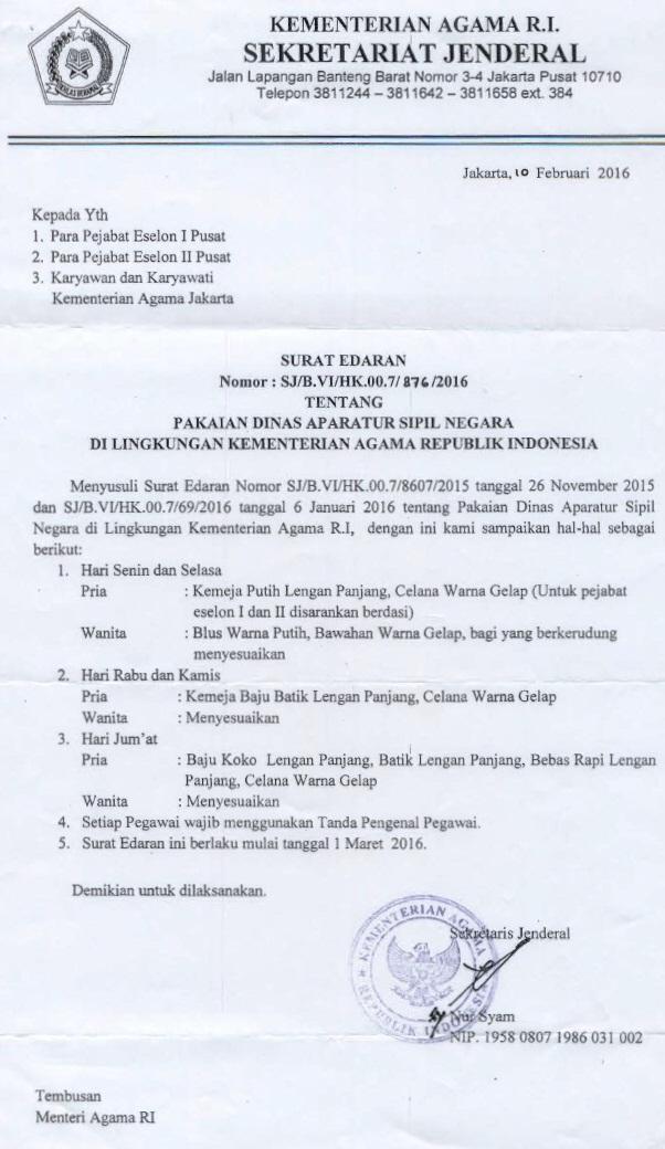 Surat Edaran Sekretaris Jenderal tentang Pakaian Dinas Aparatur Sipil Negara di lingkungan Kementerian Agama RI