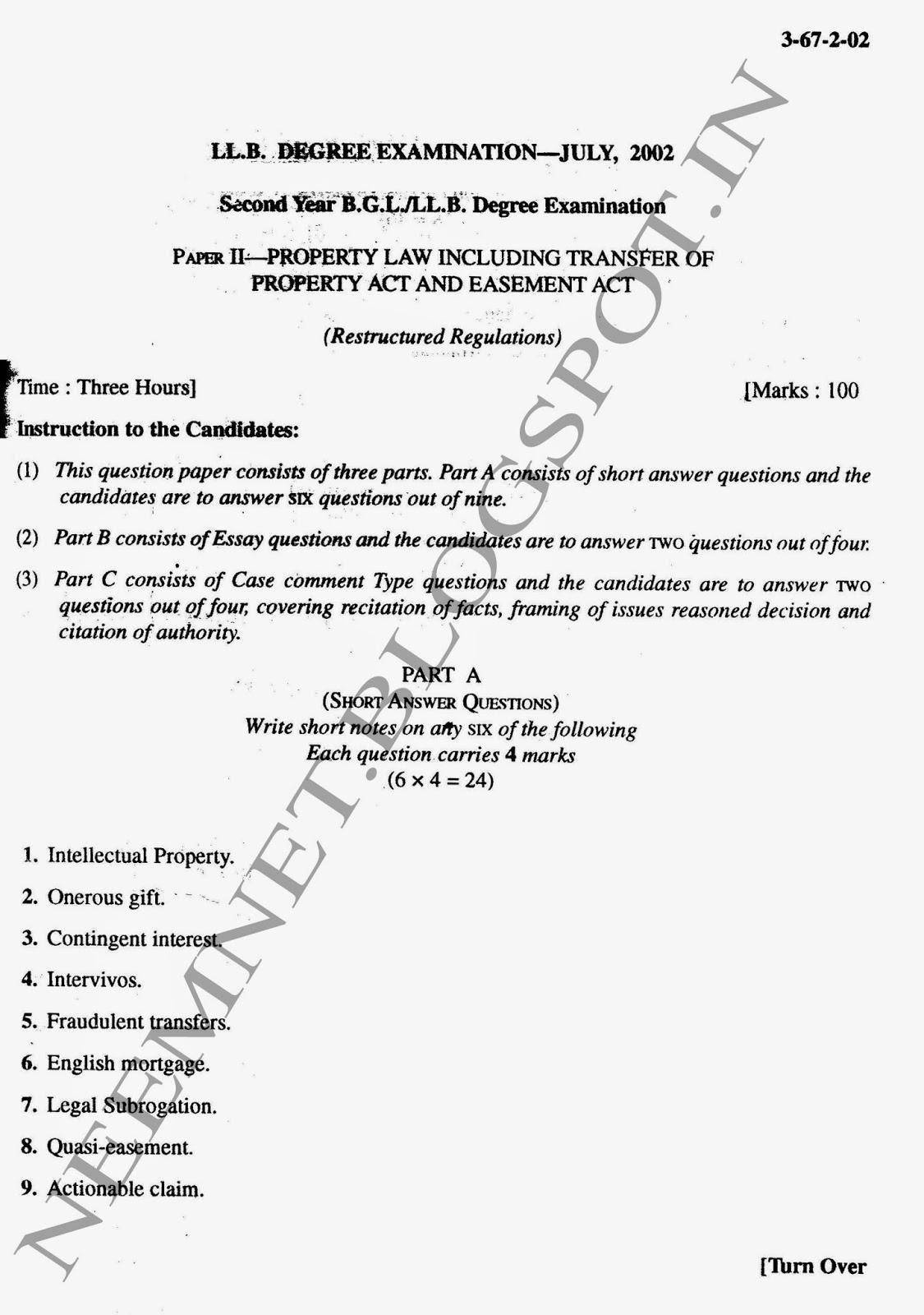 lawdetails pot in 3 1 semester3 property law sv university property law sem iii 3year llb svu jul 2002 page 1