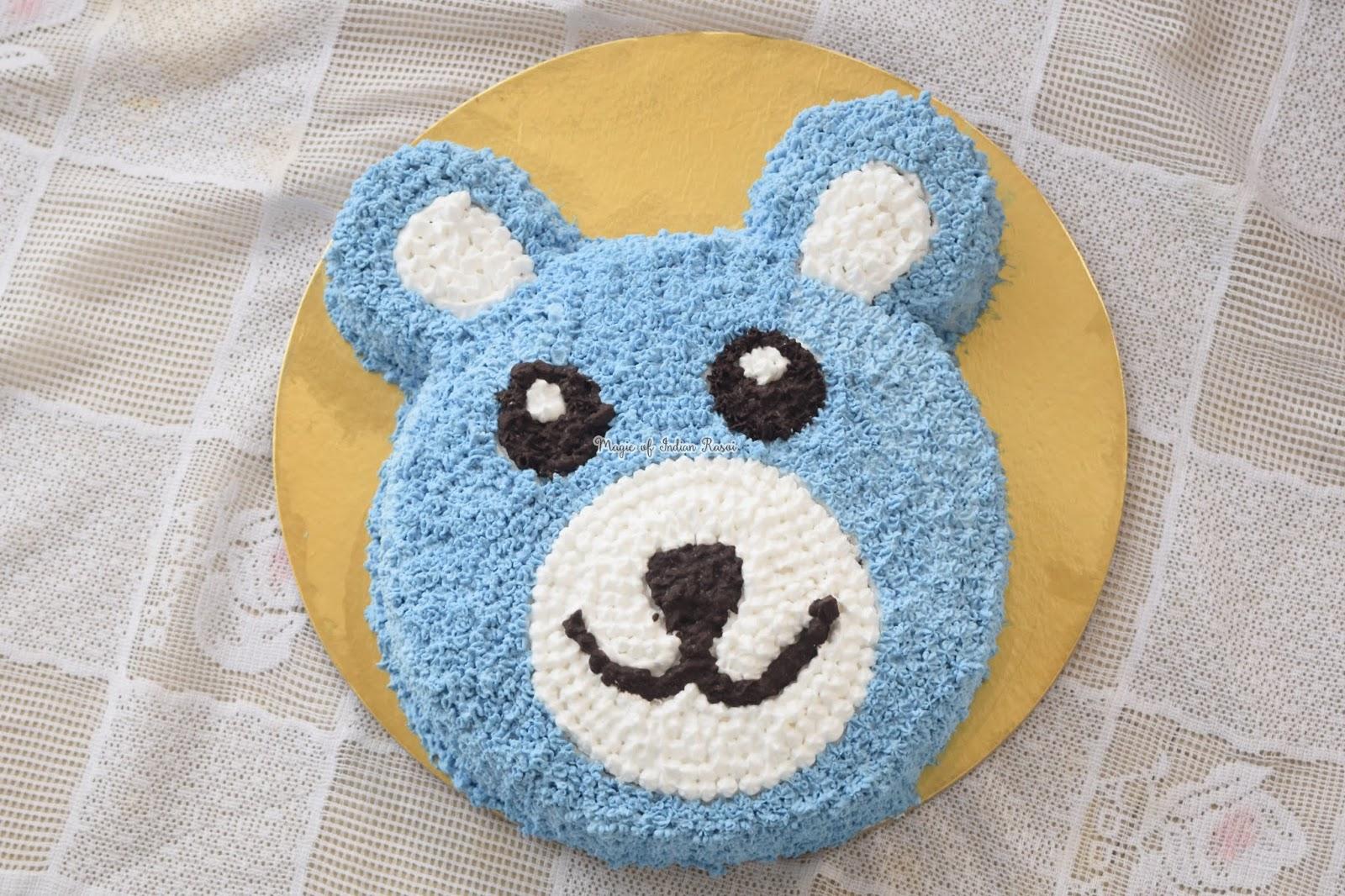 Teddy Bear Cake - Choco Vanilla Whipped Cream Cake Recipe - टेडी बेयर केक घर पर टेडी बेयर केक घर पर बनाने की रेसिपी - Priya R - Magic of Indian Rasoi