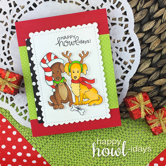 Dog Christmas Card by Jennifer Jackson | Happy Howl-idays Stamp Set by Newton's Nook Designs #newtonsnook #handmade