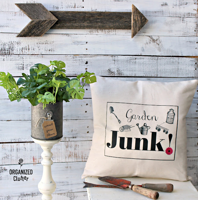 Garden Junk Iron On Transfer Pillow Cover Graphic Image