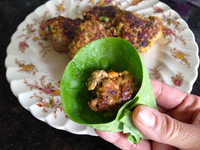 Squash pork sausage in butter lettuce wrap