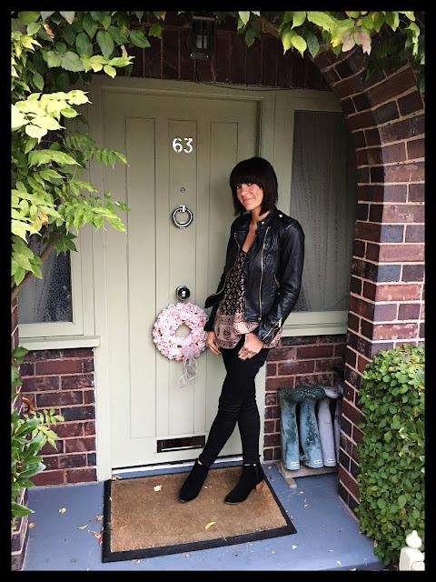 My Midlife Fashion, Biker Jacket, Boho Top, Ankle Boots, Skinny Jeans, Zara, Mango