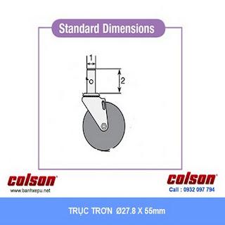 kích thước Bánh xe đẩy cao su trục tròn Colson Mỹ phi 125 - 5 inch | 2-5651-448 www.banhxedaycolson.com