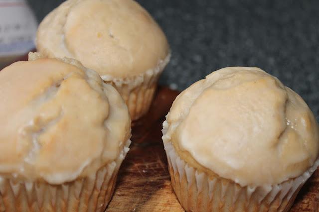 Closeup Of Three Glazed Doughnut Muffins