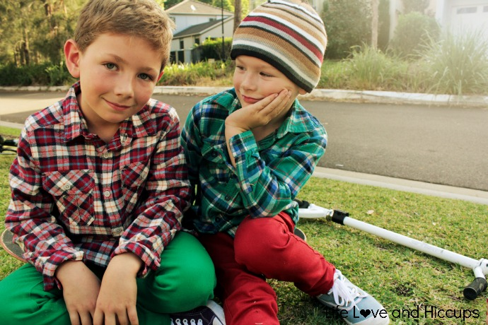 07fa36364 Sam (left) wears; Boys Skinny Jeans in Green $18.00 (available in store),  Boys Long Sleeve Flannelette Shirt $14.00 (available in store), Kids Canvas  Shoes ...