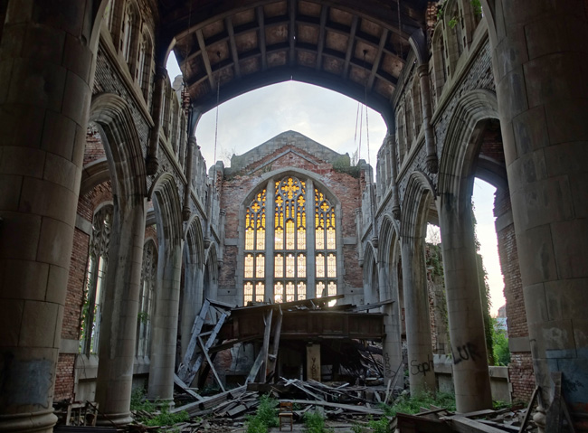 Abandoned Church the ruins of a gothic masterpiece: abandoned city methodist church