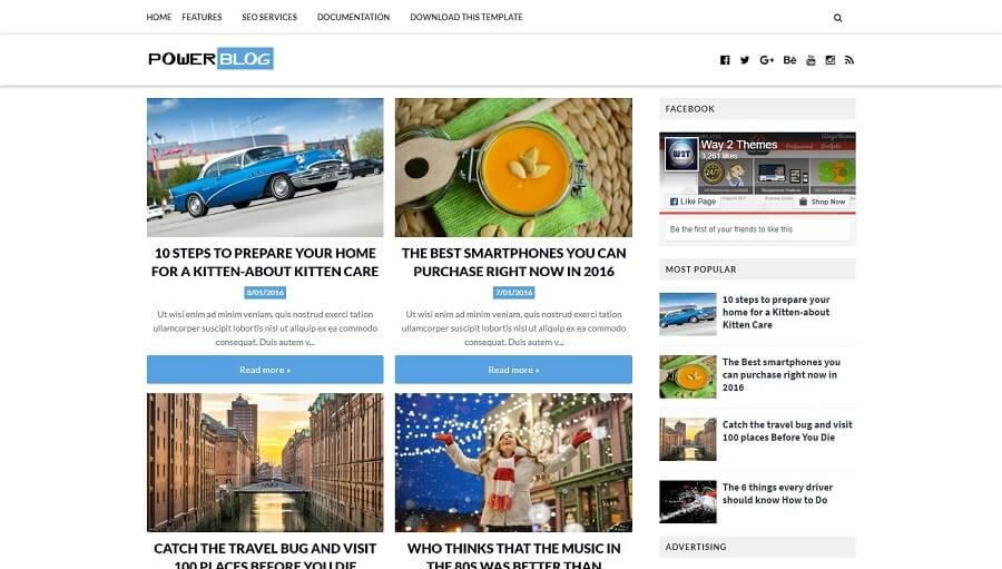 Power Blog - Responsive Blogging Blogger Template